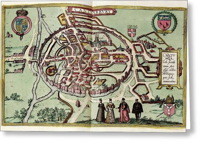Map Of Canterbury Greeting Card by Library Of Congress, Geography And Map Division