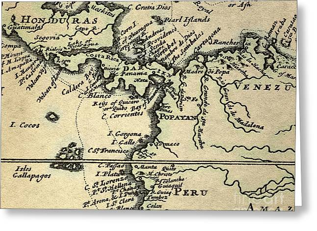 Buccaneer Greeting Cards - Map Of Central America, Dampier, 1698 Greeting Card by Paul D. Stewart