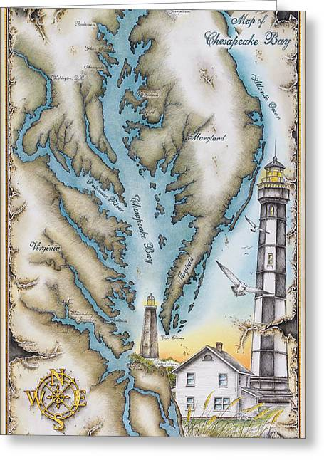 Charles River Drawings Greeting Cards - Map of Chesapeake Bay Greeting Card by Mike Williams