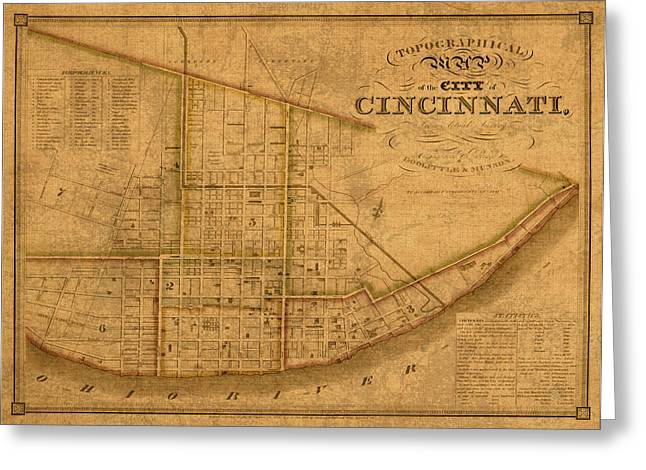 Old Map Mixed Media Greeting Cards - Map of Cincinnati Ohio in 1841 on Worn Distressed Canvas Parchment Greeting Card by Design Turnpike