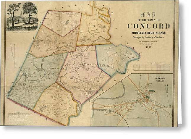 Concord Greeting Cards - Map of Concord 1852 Greeting Card by Andrew Fare