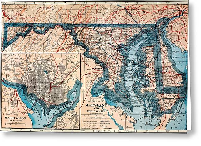Featured Drawings Greeting Cards - Map of Delaware and Maryland 1921 Greeting Card by Mountain Dreams