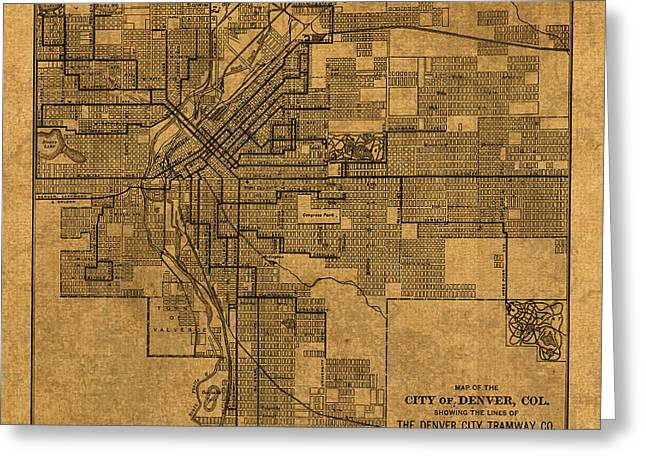 Cartography Mixed Media Greeting Cards - Map of Denver Colorado City Street Railroad Schematic Cartography Circa 1903 on Worn Canvas Greeting Card by Design Turnpike