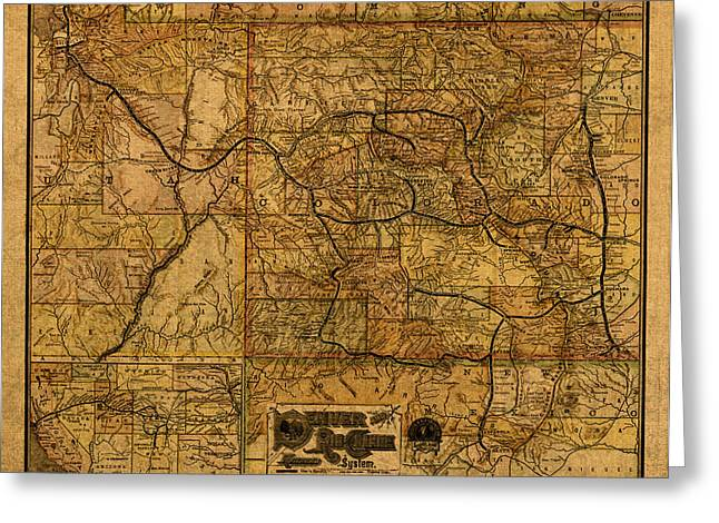 System Mixed Media Greeting Cards - Map of Denver Rio Grande Railroad System Including New Mexico Circa 1889 Greeting Card by Design Turnpike