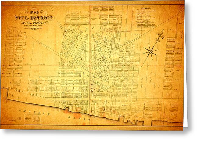Rusted Cars Greeting Cards - Map of Detroit Michigan c 1835 Greeting Card by Design Turnpike