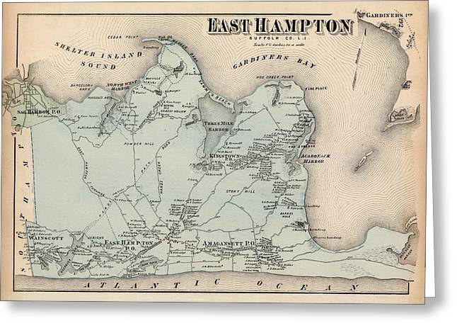 Hamptons Greeting Cards - Map of East Hampton 1873 Greeting Card by Andrew Fare