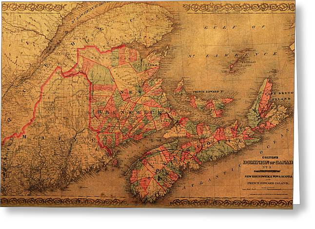 Map Of Canada Greeting Cards - Map of Eastern Canada Provinces Vintage Atlas on Worn Canvas Greeting Card by Design Turnpike
