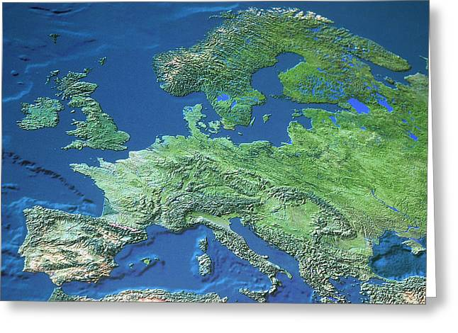 Relief Map Greeting Cards - Map Of Europe Greeting Card by Roman Nowina-Konopka