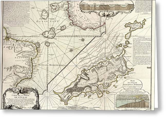 Map Of Fernando De Noronha Greeting Card by Library Of Congress, Geography And Map Division