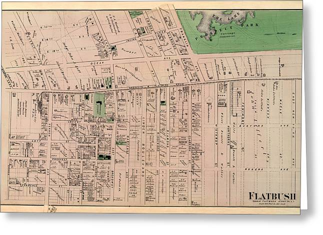 Owner Greeting Cards - Map of Flatbush 1873 Greeting Card by Andrew Fare
