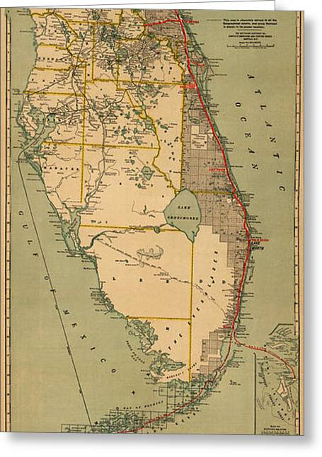 Florida East Coast Greeting Cards - Map of Florida 1896 Greeting Card by Andrew Fare