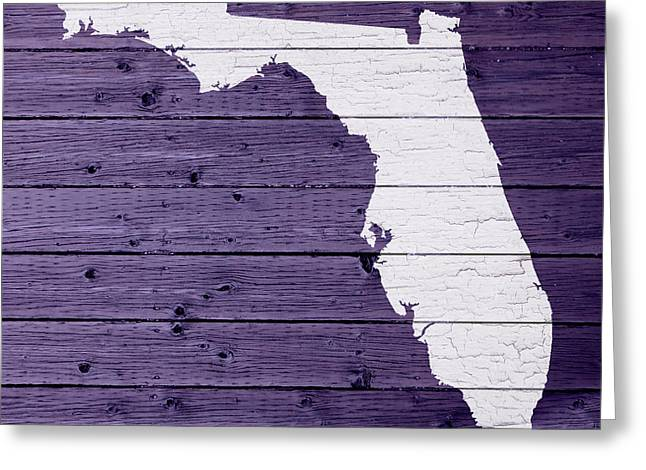 Florida Art Greeting Cards - Map Of Florida State Outline White Distressed Paint On Reclaimed Wood Planks Greeting Card by Design Turnpike