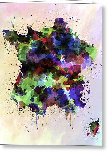 France Map Greeting Cards - Map of France in watercolor style splash Greeting Card by Pablo Romero