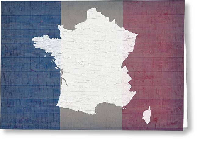 Map Mixed Media Greeting Cards - Map of France in White Old Paint on French Flag Barn Wood  Greeting Card by Design Turnpike