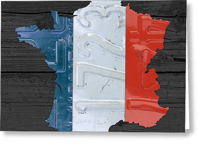 France Map Greeting Cards - Map Of France Plus French Flag License Plate Art On Gray Wood Board Greeting Card by Design Turnpike