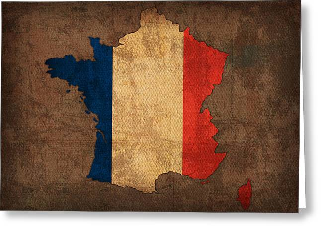 France Map Greeting Cards - Map of France With Flag Art on Distressed Worn Canvas Greeting Card by Design Turnpike