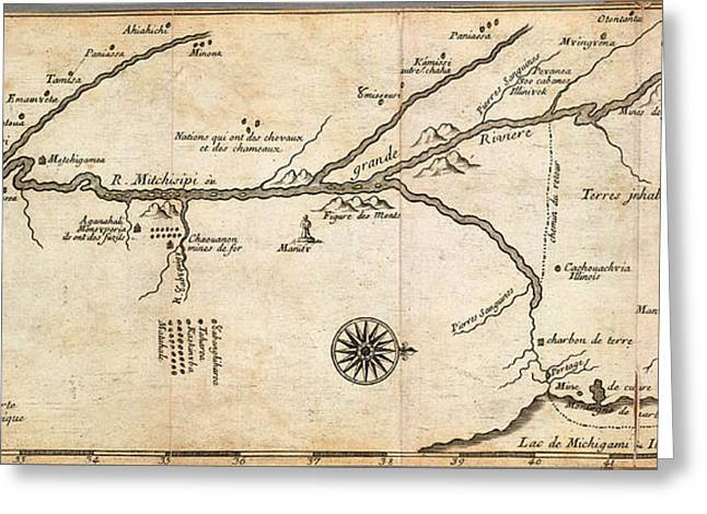 Vector Image Paintings Greeting Cards - Map of French Discoveries in America 1673 Greeting Card by MotionAge Designs