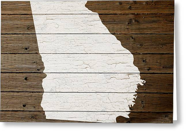 Plank Greeting Cards - Map of Georgia State Outline White Distressed Paint on Reclaimed Wood Planks Greeting Card by Design Turnpike