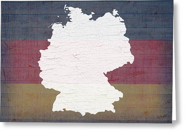 German Map Greeting Cards - Map of Germany in White Old Paint on German Flag Barn Wood Greeting Card by Design Turnpike