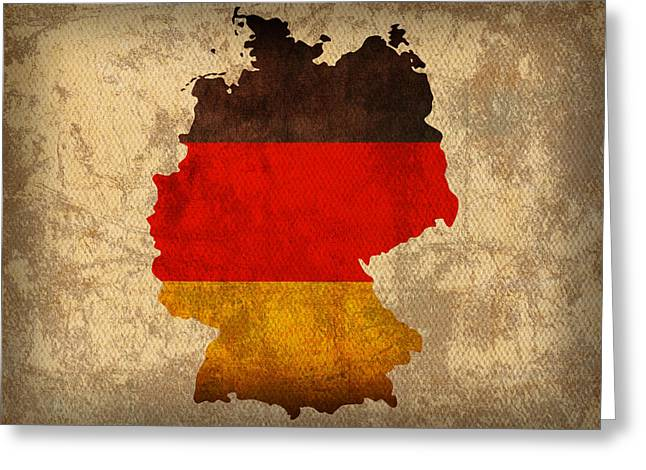 Map Mixed Media Greeting Cards - Map of Germany With Flag Art on Distressed Worn Canvas Greeting Card by Design Turnpike