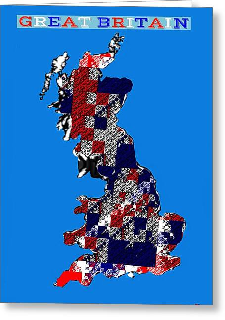 Best Sellers Greeting Cards - Map of Great Britain Greeting Card by Nikki Keep