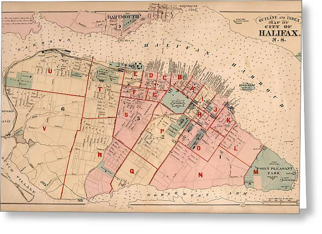 Halifax Greeting Cards - Map of Halifax 1878 Greeting Card by Andrew Fare