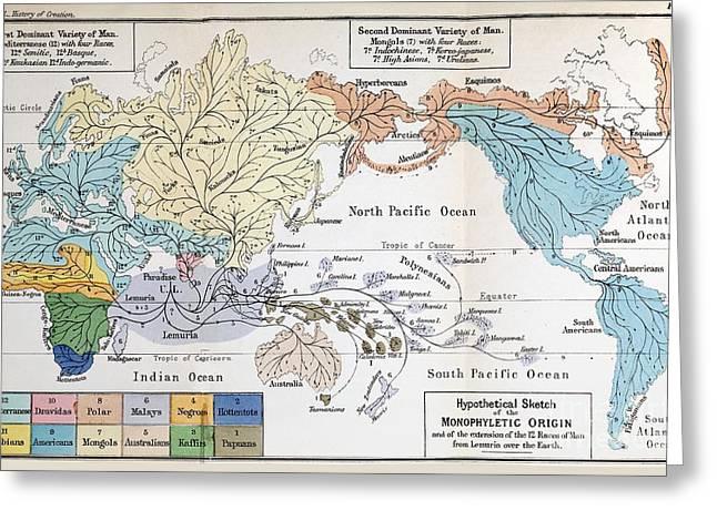 Ideologies Greeting Cards - Map Of Human Origins, 1876 Greeting Card by Paul D. Stewart