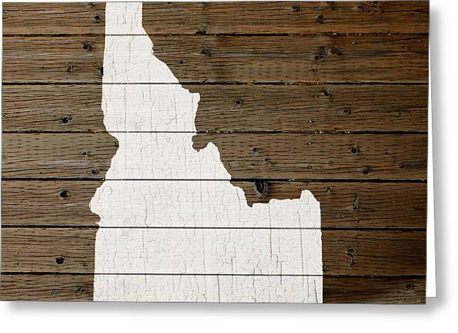 Idaho Art Greeting Cards - Map Of Idaho State Outline White Distressed Paint On Reclaimed Wood Planks Greeting Card by Design Turnpike