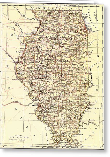 1880s Drawings Greeting Cards - Map of Illinois 1881 Greeting Card by Mountain Dreams