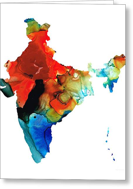 Southeast Asia Greeting Cards - Map of India by Sharon Cummings Greeting Card by Sharon Cummings