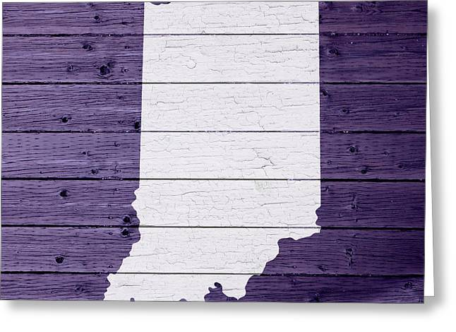 Indiana Mixed Media Greeting Cards - Map Of Indiana State Outline White Distressed Paint On Reclaimed Wood Planks Greeting Card by Design Turnpike
