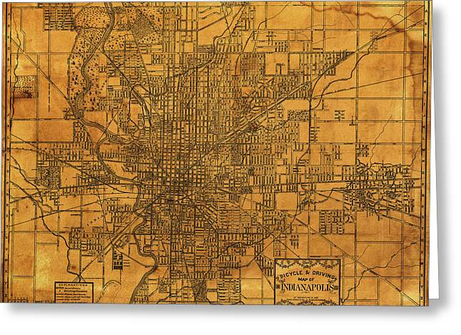 Map Of Indianapolis Vintage Bicycle And Driving Street Diagram On Weathered Parchment Greeting Card by Design Turnpike