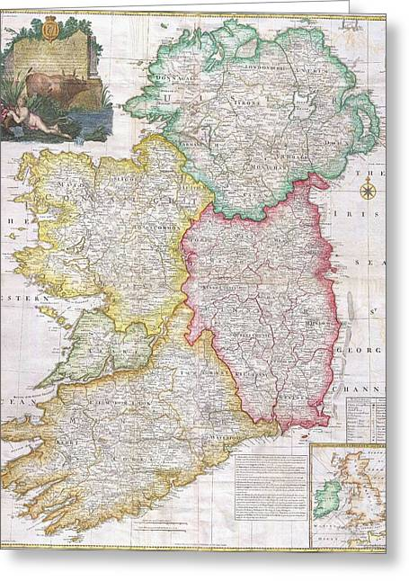 Map Of Ireland  1794 Greeting Card by Pg Reproductions