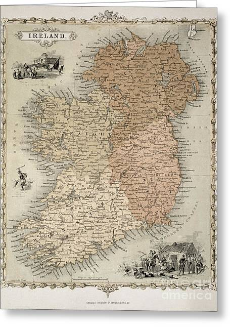 Geography Drawings Greeting Cards - Map of Ireland Greeting Card by C Montague