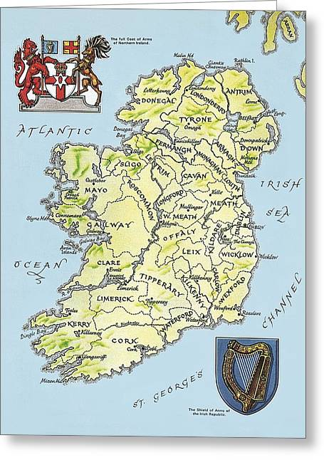 Geography Drawings Greeting Cards - Map of Ireland Greeting Card by English School