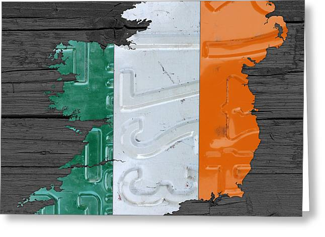Map Mixed Media Greeting Cards - Map of Ireland Plus Irish Flag License Plate Art on Gray Wood Board Greeting Card by Design Turnpike