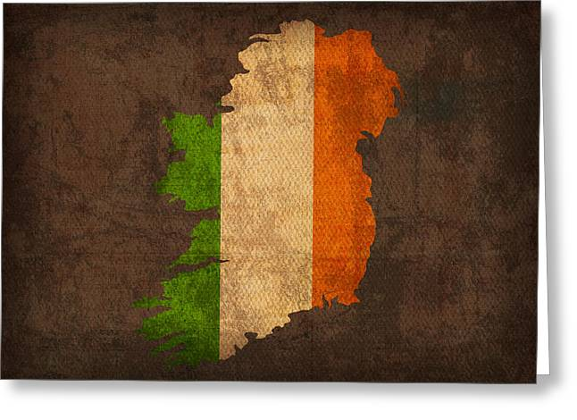 Flag Greeting Cards - Map of Ireland With Flag Art on Distressed Worn Canvas Greeting Card by Design Turnpike