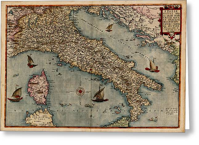 Map Of Italy Greeting Cards - Map of Italy 1574 Greeting Card by Andrew Fare