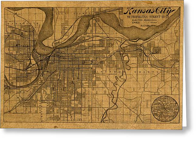 Kansas City Missouri Greeting Cards - Map of Kansas City Missouri Vintage Old Street Cartography on Worn Distressed Canvas Greeting Card by Design Turnpike