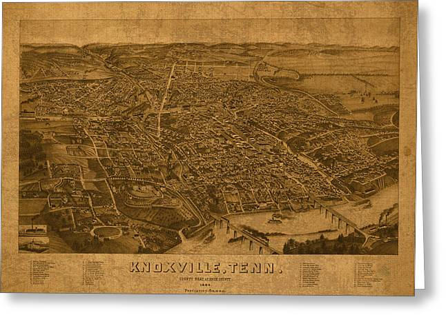 Old Map Mixed Media Greeting Cards - Map of Knoxville Tennessee in 1886 on Worn Distressed Canvas Parchment Greeting Card by Design Turnpike