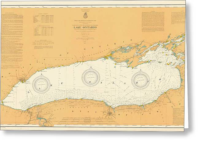 Vintage Map Photographs Greeting Cards - Map of Lake Ontario 1904 Greeting Card by Andrew Fare