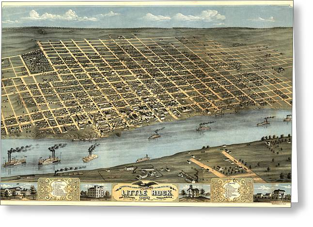 Arkansas Greeting Cards - Map of Little Rock 1871 Greeting Card by Andrew Fare
