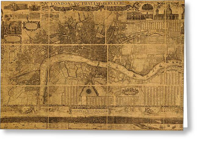 England Map Greeting Cards - Map of London England Old Parchment Circa 1905 Greeting Card by Design Turnpike