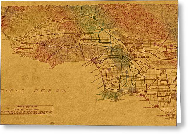 Old Map Mixed Media Greeting Cards - Map of Los Angeles Hand Drawn and Colored Schematic Illustration from 1916 on Worn Parchment Greeting Card by Design Turnpike