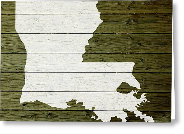 Painted Wood Greeting Cards - Map Of Louisiana State Outline White Distressed Paint On Reclaimed Wood Planks Greeting Card by Design Turnpike