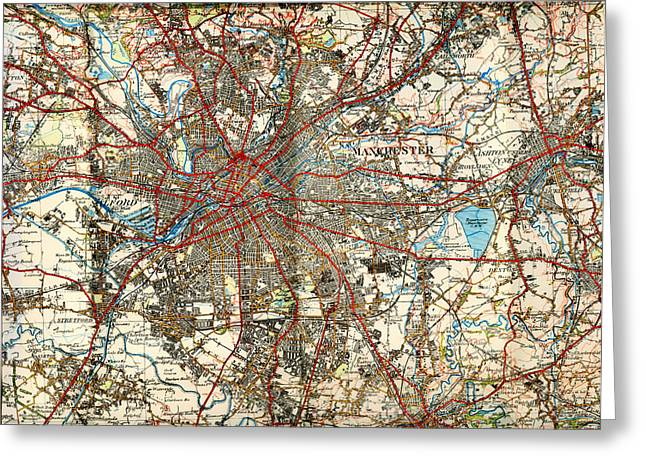 Historic England Drawings Greeting Cards - Map of Manchester UK 1924 Greeting Card by Mountain Dreams