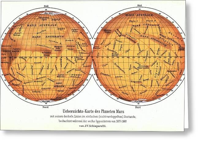 Map Of Mars Greeting Card by Detlev Van Ravenswaay