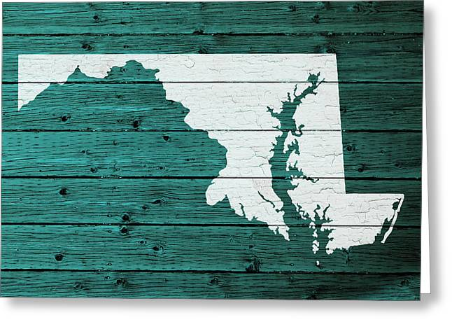 Maryland Mixed Media Greeting Cards - Map Of Maryland State Outline White Distressed Paint On Reclaimed Wood Planks Greeting Card by Design Turnpike