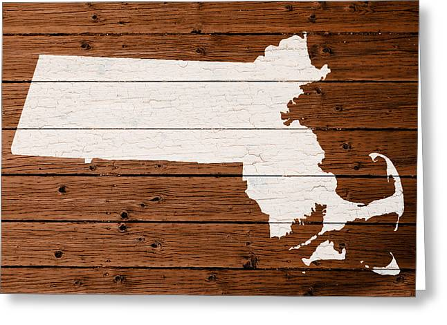 Map Mixed Media Greeting Cards - Map Of Massachusetts State Outline White Distressed Paint On Reclaimed Wood Planks Greeting Card by Design Turnpike
