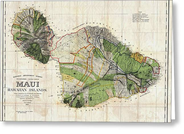 ; Maui Drawings Greeting Cards - Map of Maui 1885 Greeting Card by Jon Neidert